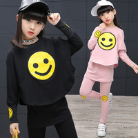2018 Spring teenage girls sport suit Children Girls clothing set cartoon Smiley Faces chool kids tracksuit 4~14T girls clothes