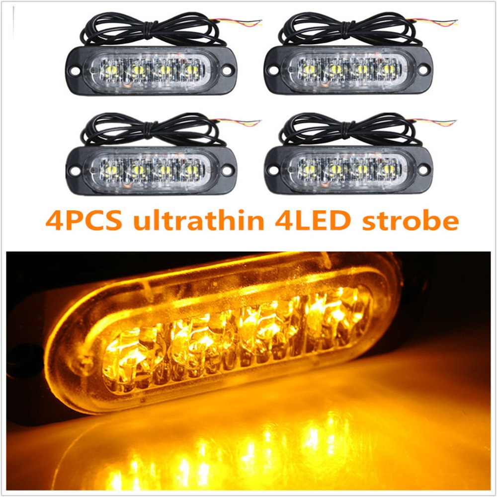 4X 4 LED Car Flash Truck Emergency Beacon Light Bar Hazard Strobe Warning Amber white blue red s4 viper car windshield led strobe light flash signal emergency fireman police beacon warning light red blue amber white