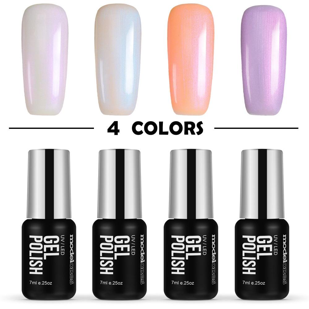 Modelones Pearl Gel Long Lasting Led Pearl Nail Polish Semi Permanent UV Nail Gel Polish Need Base Top Coat Gel Nail 7ML