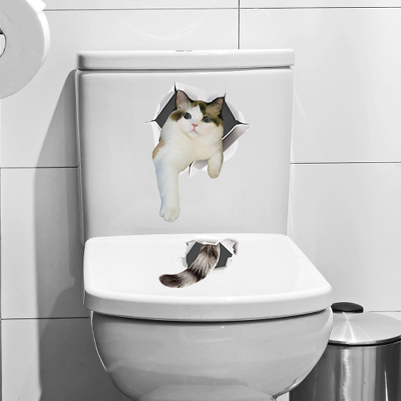 Cute kitten cat 3D wall Stickers Bathroom cupboard Home Decoration Pvc art Decals waterproof mural Toilet sticker wallpaper
