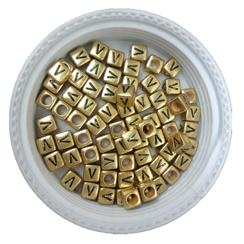 500pcs 2600pcs 6*6mm Cube Gold Alphabet Plastic V Beads 6*6mm Acrylic Letters Beads Single Initial Loose Bracelet Spacer Beads Providing Amenities For The People; Making Life Easier For The Population Jewelry & Accessories