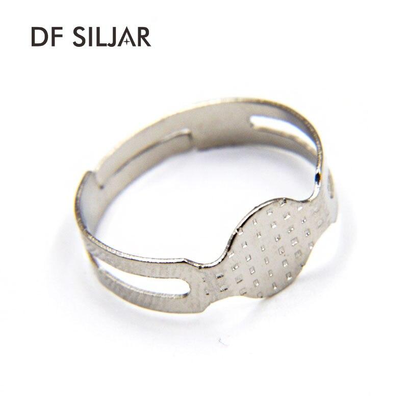 9924b01fc526 50 unids lote 16mm almohadilla redonda plana anillo ajustable Bases DIY en  blanco Cabochon anillo Bases ajustes DIY joyería que hace el material y1461