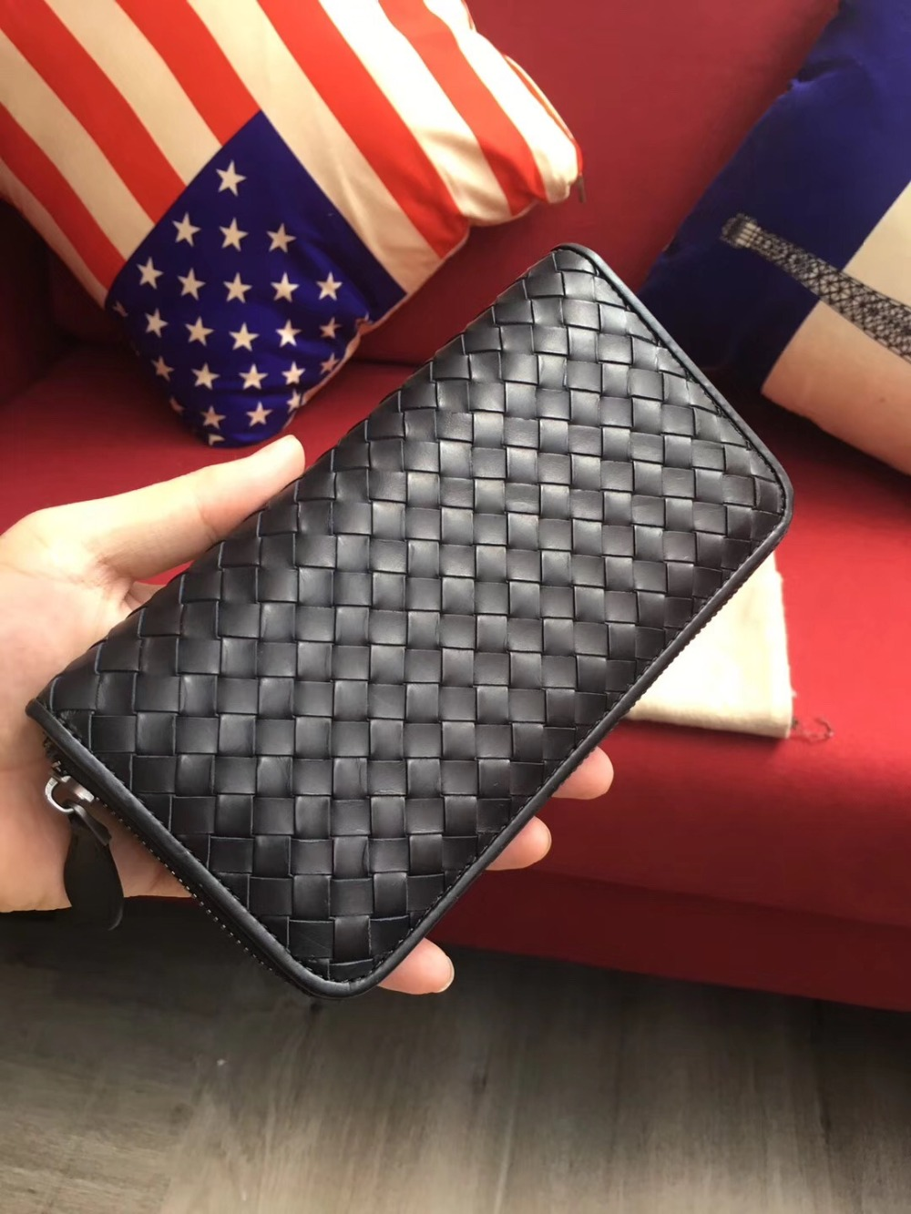 2019 Purse  Male And Female Same Style Handwoven Woven Long Clip High-quality Wallet Fashion Genuine Leather Walletmen Wallet
