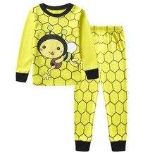 Купить с кэшбэком 100% cotton children's clothing boy cartoon long-sleeved yellow bee home service suit pajamas cartoon pajamas. 2-7Y