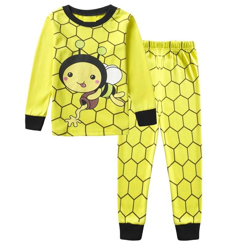 100 cottonChildren 39 s pajamas set boy cartoon long sleeved yellow bee home service suit pajamas cartoon pajamas 2 7Y in Pajama Sets from Mother amp Kids