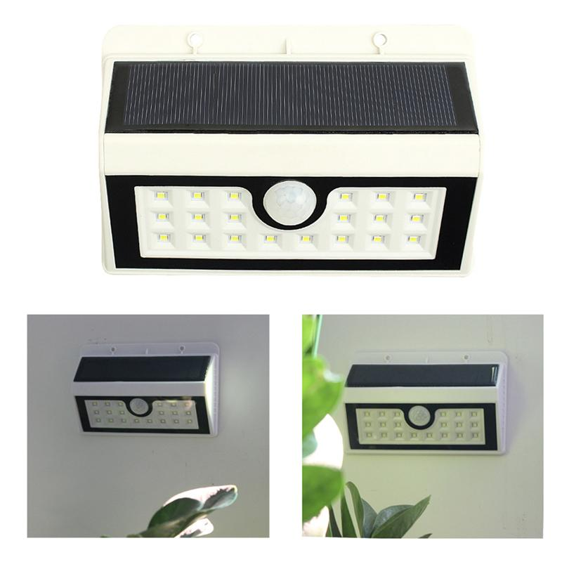 20 LED Wall Sconce Solar Powered Wall Light Lamp Body Induction Motion Sensor Outdoor Light for Garden Deck, Yard, Patio (White)
