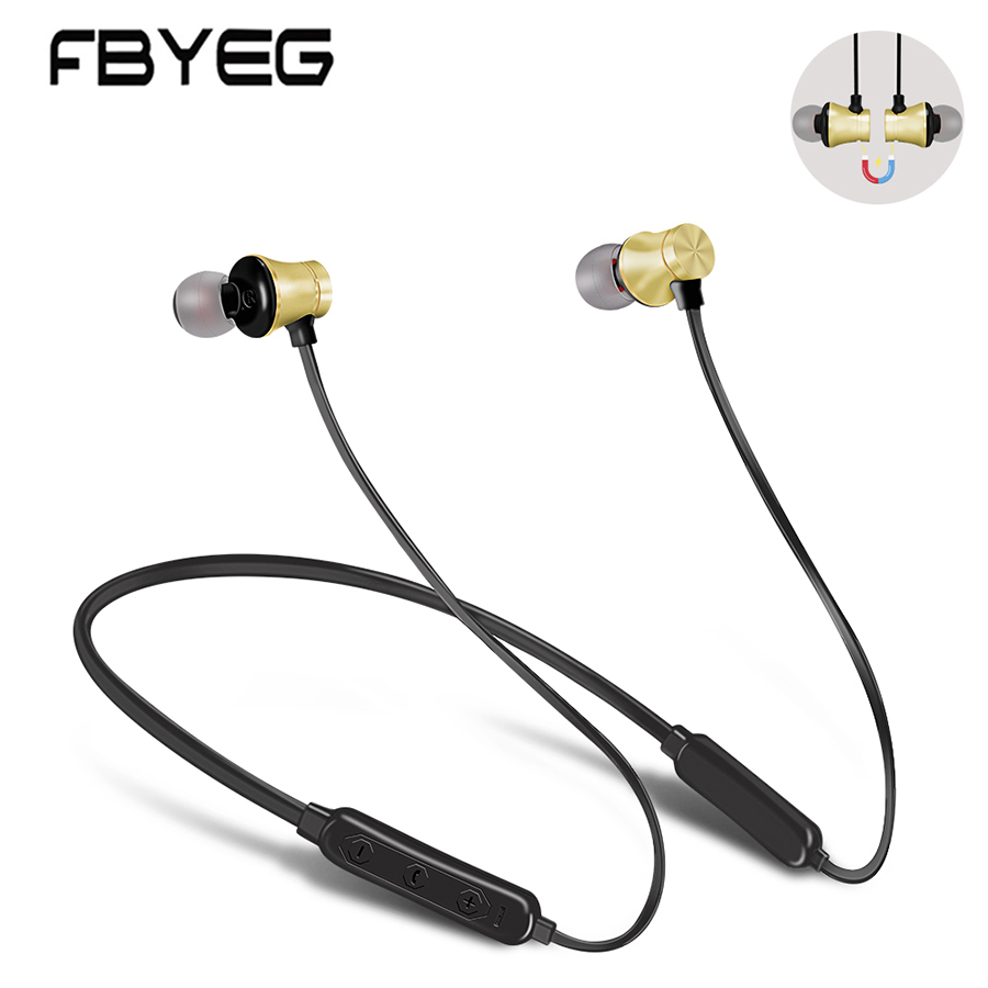 Wireless Bluetooth Earphone Headphones Bluetooth Sport Sweatproof Headset Earpiece Magnetic bass headphone with microphone FBYEG
