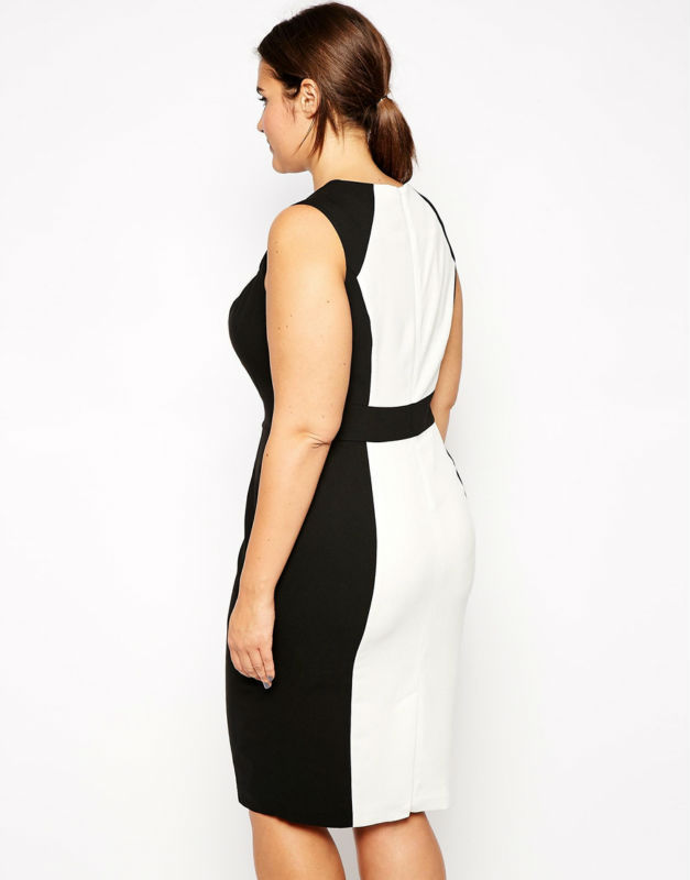 Fashion design clothing for ladies sexy midi dress plus size party dress  with black and white patchwork 3xl 6xl 019-in Dresses from Women s Clothing  on ... d6e272519821