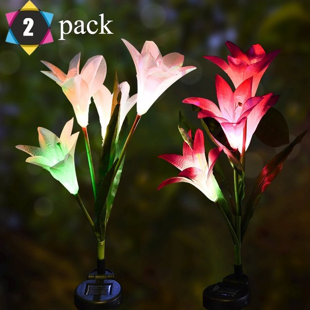 Merveilleux Outdoor Solar Garden Stake Lights 2 Pack Lily Flower Lights Multi Color  Changing LED Decorative