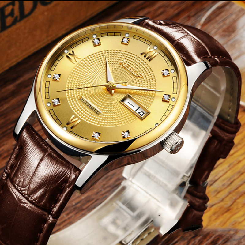 Luxury AESOP watch men sapphire glass leather waterproof automatic machine wristwatch relogio masculine aesop 100ml