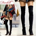 brand design nubuck leather autumn long boots fashion high thin heels pointed toe sexy over the knee high boots for women shoes
