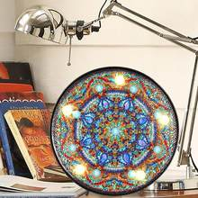 DIY LED Diamond Painting Light Mandala Cross Stitch Embroidery Lamp Full Drill Special Shaped Drill LED Lights Home Decoration(China)