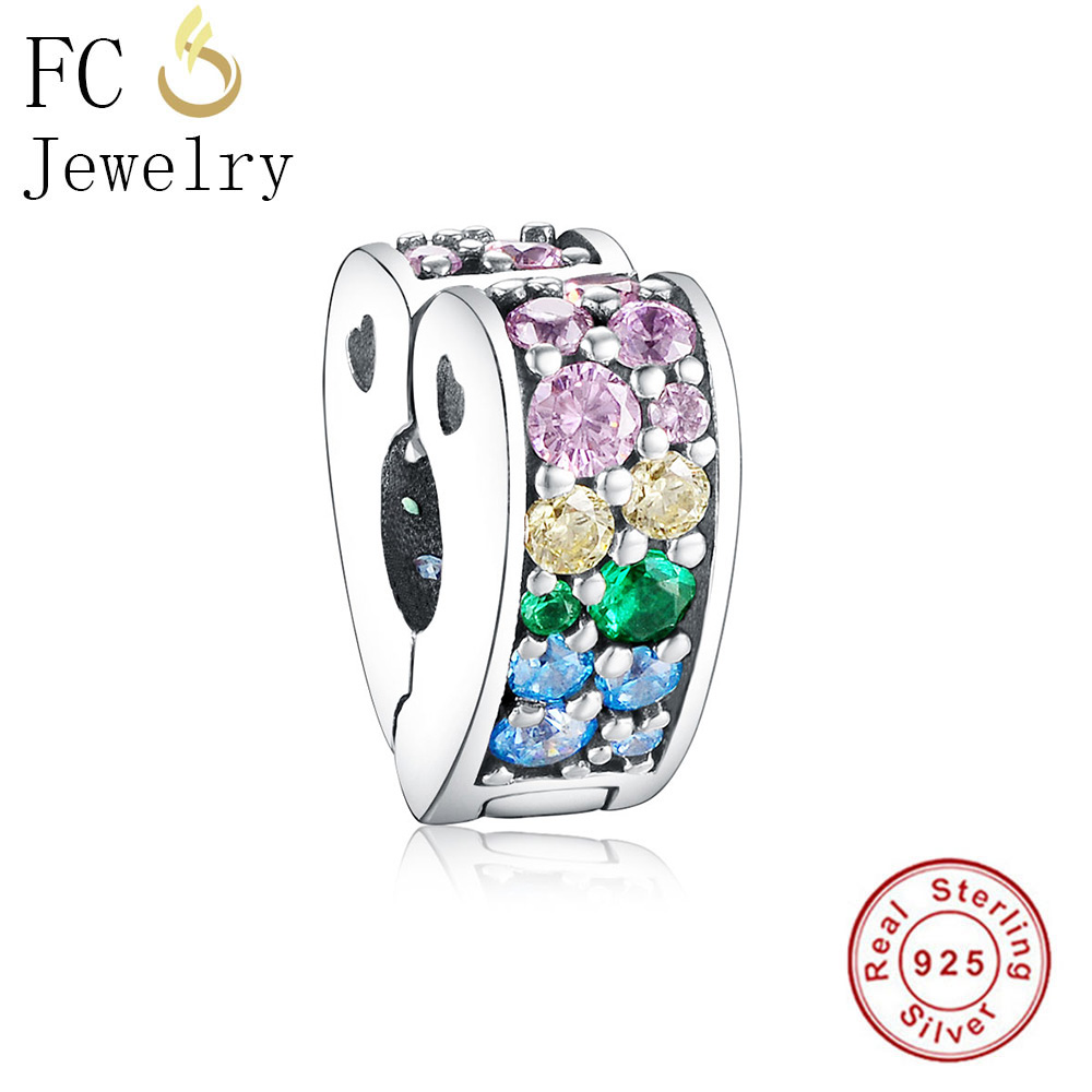FC Jewelry Fits Original Pandora Charms Bracelet 925 Silver Heart Paved Mosaic Mix Color CZ Lock Clip Stopper Bead Berloque Gift