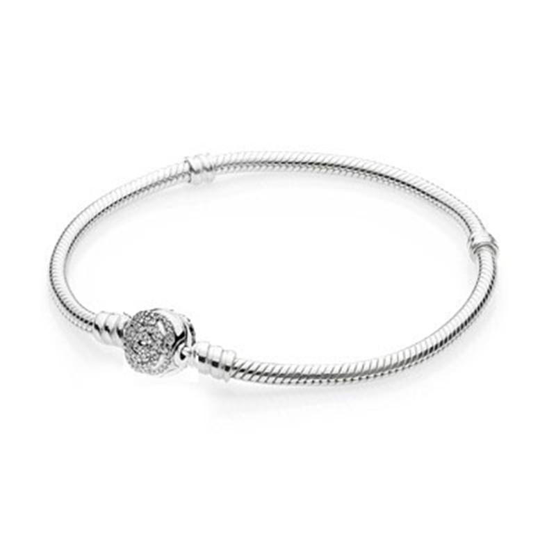Authentic 925 Sterling Silver Bead Charm Snake Chain Fit Original Pave Rose Clasp Pandora Bracelet for Women DIY Jewelry Gift original 100% authentic 925 sterling silver bead charm chain fit pandora moments pave silver bracelet for women diy jewelry gift