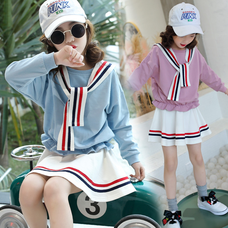 Spring Autumn Girls Clothing Set 2 Pcs Long Sleeve T-shirt & Stripe Skirt Set Pink Blue Dress Set Girl School Wear Outfits 4th july patriotic rwb stripe heart skirt white top shirt girl clothing set 1 8y mapsa0624