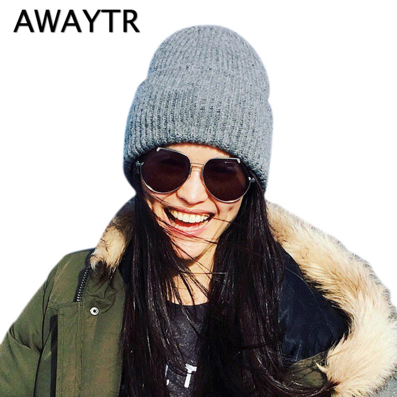 AWAYTR Autumn Skullies & Beanies Woman Wool Knit Skullies Headwear Beanie Watch Cap Winter Skull Hats for Women New Hats & Caps skullies