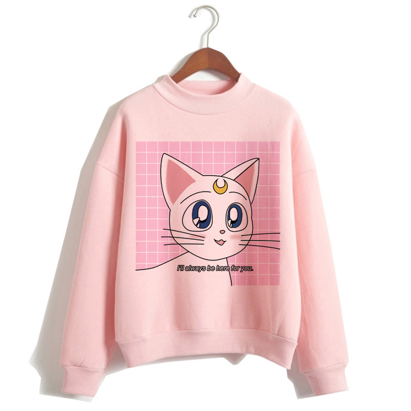 Sailor Moon Harajuku Hoodie 2019 Korean Style Ulzzang Kawaii 90s Cartoon Clothing Pullovers New Oversized Hooded Streetwear