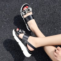 Big Size 11 12 summer flat sandals ladies women shoes woman Muffin Thick Bottom Water Drill Open Toe Sports Sandals
