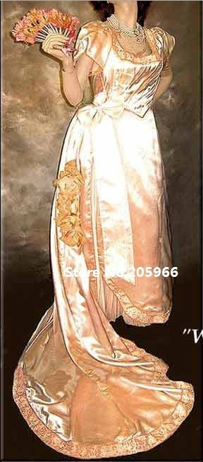 Free Shipping Victorian 1890's Charles WORTH style Evening Gown Victorian Costume/Function Dress/Event Dress