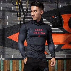 Image 4 - ZRCE Fashion męskie koszulki sportowe siłownia kompresja Skinny T shirt męskie trening Jogging kulturystyka odzież sportowa Top