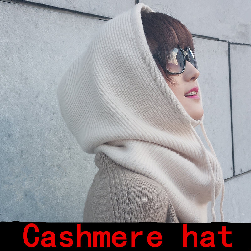 Unisex 2019 Women Multifunction Scarf Hat Cashmere Wool Blend Knitted Even The Neck Hats Winter Soft Warm Solid Color Head Cap