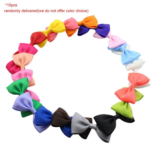 20pcs Cute Bowknot Colorful Kids Baby Girls Hairclip Design Ribbon Clip Bows Hairpins Hairgrip Headwear Hair Accessories for Kid