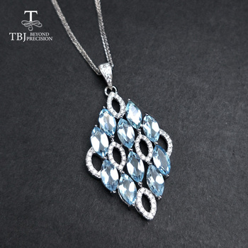 TBJ ,NEW shiny 925 silver pendant necklace natural 6.7ct sky blue topaz gemstone for women wedding birthday gift daily wear