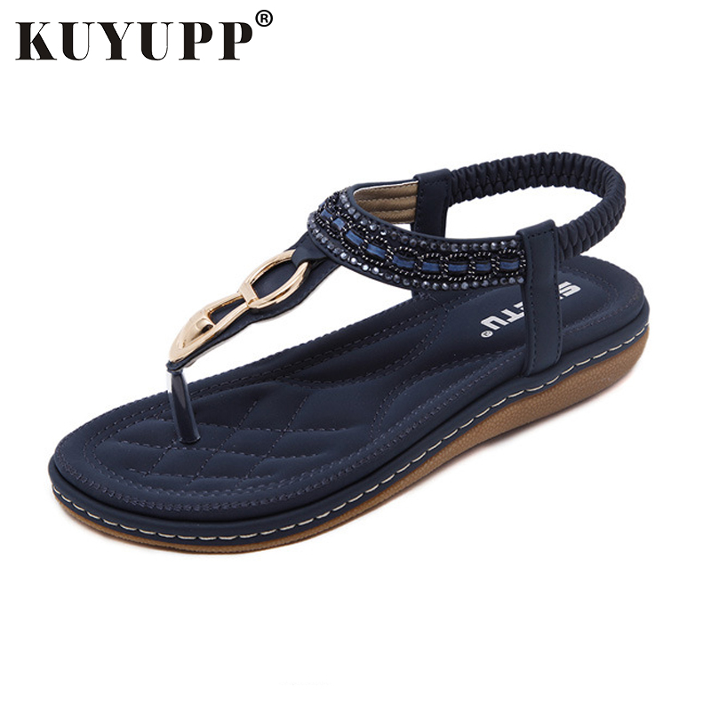 KUYUPP Fashion Leather Women Sandals Bohemian Diamond Slippers Woman Flats Flip Flops Shoes Summer Beach Sandals size10 YDT563 bees slippers women g designer flats sandals bees logo fashion women beach summer slippers flip flops