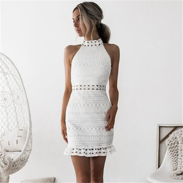 2018 New sexy Vintage hollow out lace dress women Elegant sleeveless white dress summer chic party sexy mini dress vestidos 2XL 1