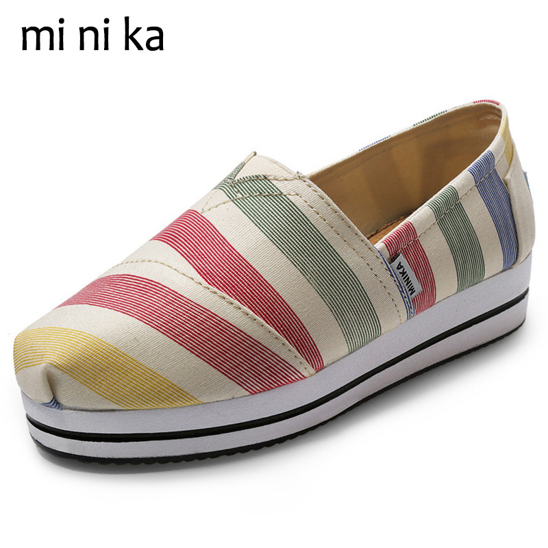 MINIKA 2017 Canvas Women Flats Platform Breathable Summer Shoes Casual Slip On Footwear Female Shoes Women Flat Shoes SNE-756 summer women shoes casual cutouts lace canvas shoes hollow floral breathable platform flat shoe sapato feminino lace sandals