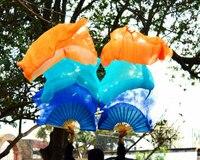 2016 High selling 100% Real Silk Veils 1 Pair handmade women Quality Silk Belly Dance Fan Dance blue turquoise orange 180*90 cm
