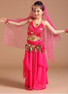 Image 5 - 5 stücke 1 set Mädchen Bauchtanz Kostüme Kinder Bauch Tanzen Mädchen Bollywood Indische Leistung Dancewear Kinder Oriental Dance
