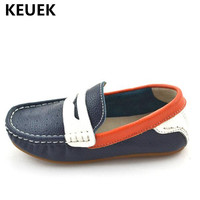 New Children Breathable Genuine Leather Loafers Boys Shoes Baby Toddler Moccasins Flats Student Single Dress Student Kids 04