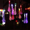 Solar Outdoor String Lights 20ft 30 LED Water Drop String Fairy Waterproof Christmas Light Solar Powered String Lights For Party