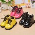 Zapatos de los niños Botas de Pecar de LA PU Botas de Cuero Forro Interior de Tela de Algodón Del Bebé Niños Niñas Zapatos Botas de Niño