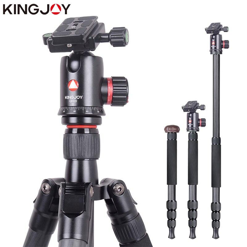 KINGJOY Officielles K2208 + QH20 Professionnel En Fiber De Carbone Caméra Trépied Monopode Dslr Pour Modèles Movil Flexible Stativ SLR DSLR