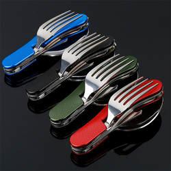 4 в 1 походная посуда (вилка/ложка/нож/открывалка для бутылок) походные Складные карманные наборы из нержавеющей стали для походов