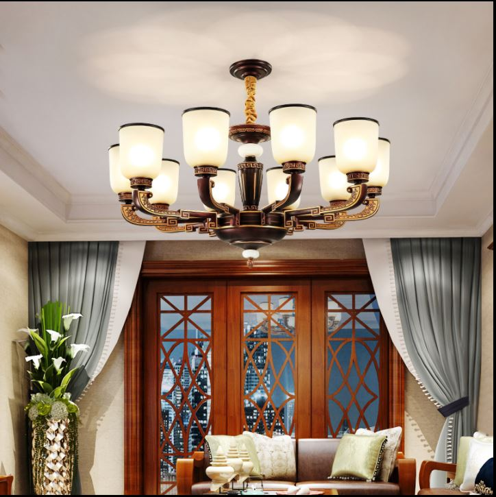New Chinese Chandelier Living Room Villa with Chinese Style Duplex Retro Classic Restaurant Hall Light