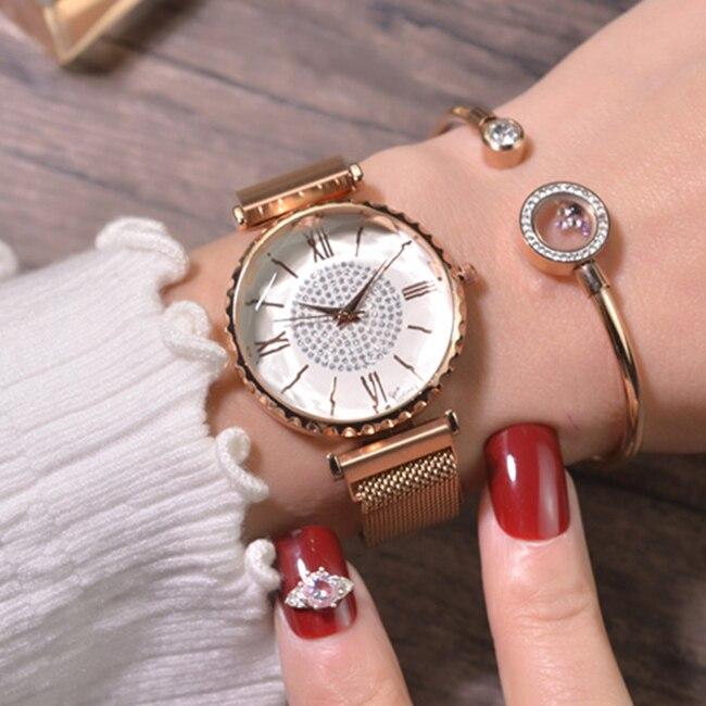 Luxury Brand Stainless Steel Rhinestone Women Wrist Watches 2019 Magnetic Ladies Quartz Watch For Female Clock relogio feminino diamond stylish watches for girls