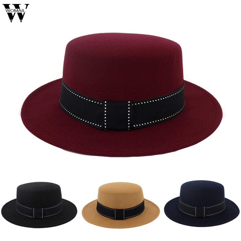 Men Fedora Hat Top Grade Gift Party Formal Flat Top Jazz Hat Felt Hats