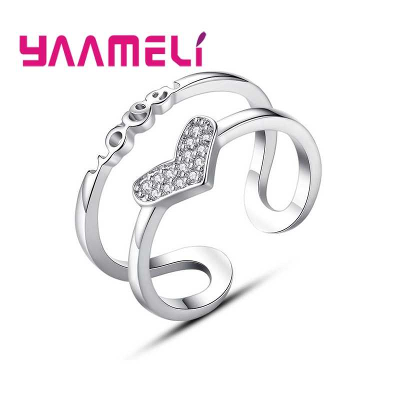 Romantis Yang Indah Double Layer Jari Cincin untuk Gadis Wanita Baru 925 Sterling Silver + Keras Cubic Zirconia Crystal Perhiasan