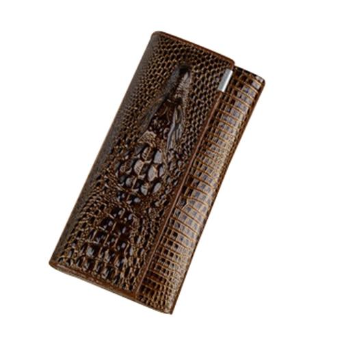 3 Fold Genuine Leather Women Alligator Wallet Hasp Crocodile Head Female Clutch Purse Wallet yuanyu real 2018 new hot free shipping crocodile women clutches long wallet crocodile skin female wallet women purse