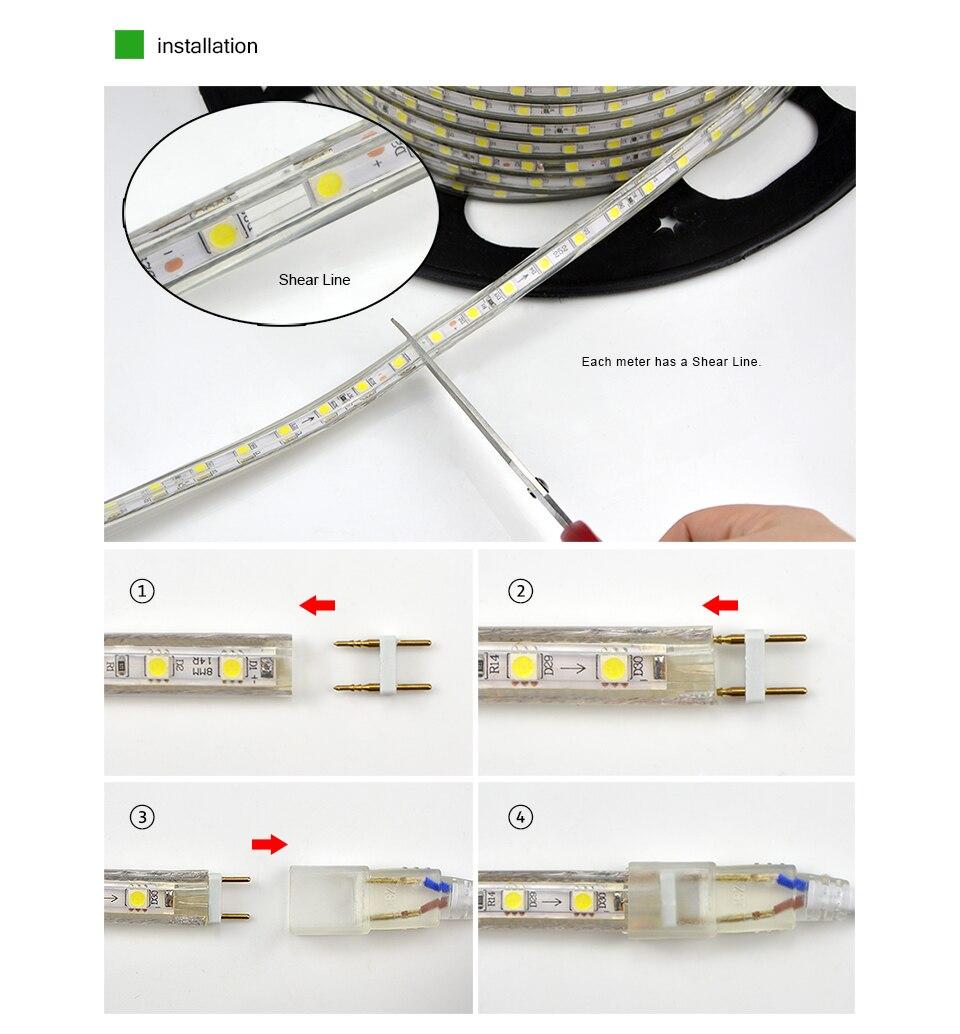 LED Strip 5050 220V Waterproof Flexible LED light Tape 220V lamp Outdoor String 1M 2M 3M 4M 5M 10M 12M 15M 20M 25M 60LEDs/M