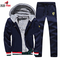 New Brand 2PCS autumn Winter Thick Warm Sweatshirts Men printed Casual fleece Hoodies Tracksuit Mens sportswear brand-clothing