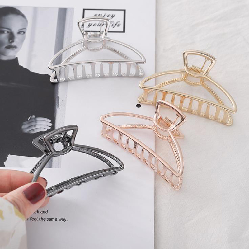 New Arrival Women Headwear Alloy Metal Hair Claws Girls Geometric Hair Clips Simple Plated Gold Hairpins Hair Accessories Female