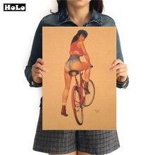 Póster clásico de estilo clásico para chica con diseño de bicicleta, papel pintado retro para pared, papel pintado para café, bar, pub, decoración de 42x30cm MXC034