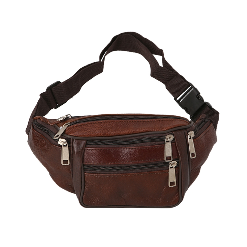 Large Leather Fanny Pack Mens Waist Belt Bag Womens Purse Hip Pouch Travel W//Ext