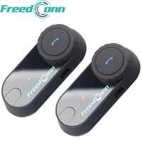 2 stücke Original FreedConn Motorrad Intercom Bluetooth Helm Headset T-COM OS FM 2 Fahrer BT Sprech Moto Intercomunicador
