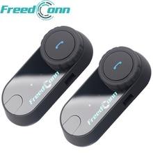 2 pcs FreedConn Moto Interfono Bluetooth Casco Auricolare T-COM OS FM 2 Piloti BT Interphone Moto Intercomunicador + Soft Mic