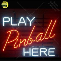 Play pinball here Neon Signs Handcrafted Custom Neon Bulb Beer Bar Pub Game Room Iconic Sign Professional Light Super Bright
